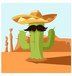 Mexican cactus in the desert vector