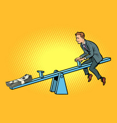 Money business balance of a seesaw swing board vector