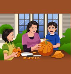 mother kids carving pumpkins vector image