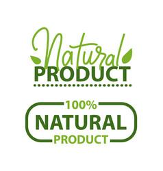 Natural product 100 percent organic food logo vector