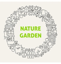 Nature Garden Line Art Icons Set Circle vector image