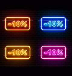 neon 10 off text banner color set night sign vector image