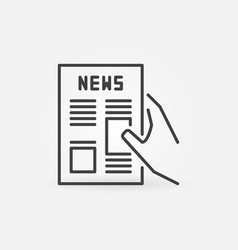 Newspaper in hand concept icon in outline vector