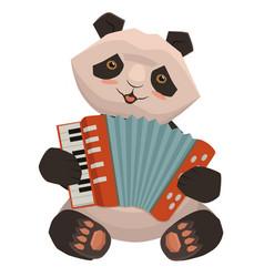 panda plays accordion cartoon image isolated vector image