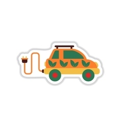 Paper sticker on white background eco car vector