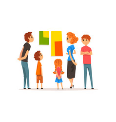 people looking at abstract paintings hanging on vector image