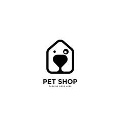 Pet shop logo simple line logo template vector