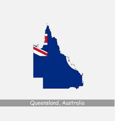 queensland australia map flag vector image