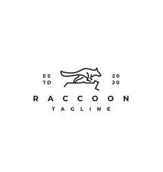 raccoon line outline logo design vector image