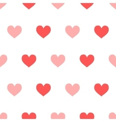 Red and pink hearts on white seamless pattern vector