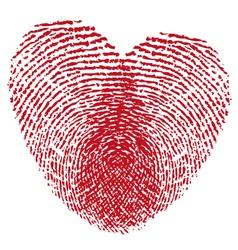 Red fingerprint heart vector image