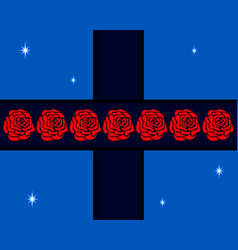 Roses on the cross vector