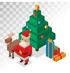 Santa Claus gift box deer tree sometric 3d vector image