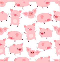 seamless kawaii pattern cheerful little cute pigs vector image