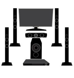 Set HI-FI Household appliances TV and audio vector