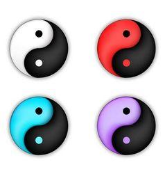 Set of yin-yang circle icon vector