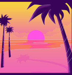 silhouettes palm trees on beach vector image