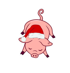 Sleeping new years symbol piggy with a santas hat vector