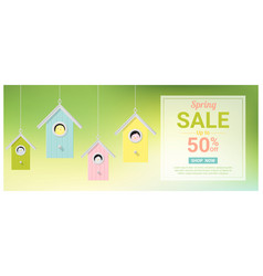 spring sale banner with birds in birdhouses vector image