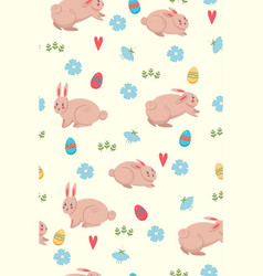 spring seamless pattern with bunnies graphics vector image