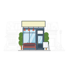 street market building with bench on cityscape vector image