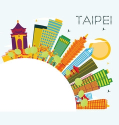 Taipei skyline with color buildings blue sky and vector