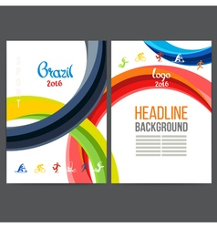 Template design strips of colored rings and waves vector
