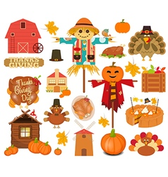 thanksgiving set turkey day objects vector image