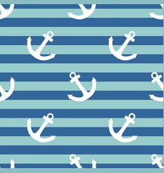 tile sailor pattern with white anchor on navy blue vector image