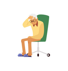 Tired aged man with headache sit on chair a flat vector