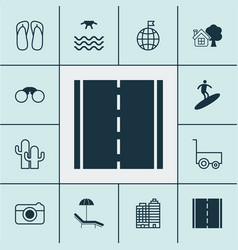 Tourism icons set with sea field glasses thongs vector