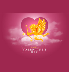 valentines day greeting card with cupid in the vector image
