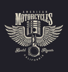 Vintage motorcycle repair shop logo vector