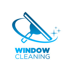 Window washing cleaning squeegee logo icon vector