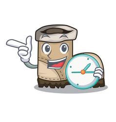 With clock working boot in shape cartoon beautiful vector