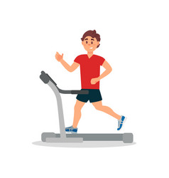 young man training on treadmill physical activity vector image