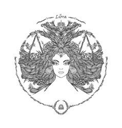 zodiac sign portrait of a woman libra vector image