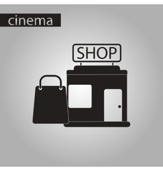 black and white style icon shop package vector image