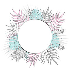 creative summer round template with tropical vector image vector image