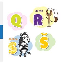 finnish alphabet slingshot zebra letters vector image