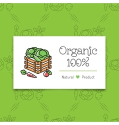 Organic food and farming logo concept line art vector image vector image