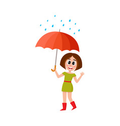 woman stans keeping umbrella in hand vector image