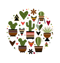 a cactus encased in a circle vector image