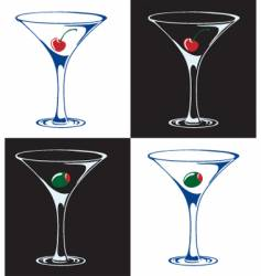 martinis with cherries or olives vector image vector image