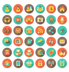 Social Networking Flat Round Icons with Long Shado vector image vector image
