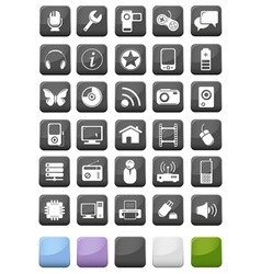 Web icons and multimedia buttons set vector image vector image
