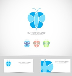 Blue butterfly logo vector