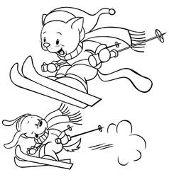 Cat skiing vector