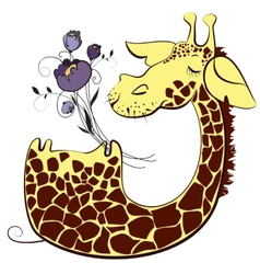 Cute giraffe with bunch of flowers vector image