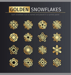 golden snowflakes icons set vector image vector image
